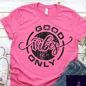 NEW PINK GOOD VIBES ONLY T-SHIRT